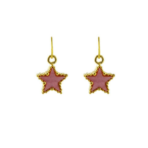 Pink golden star earrings