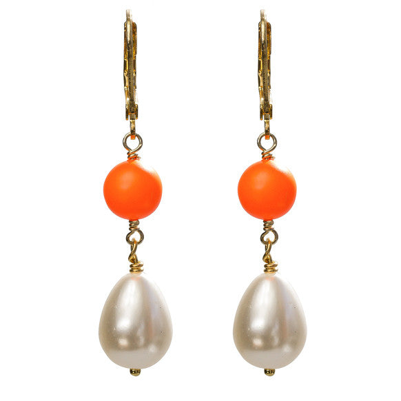 Orange and pearl earrings