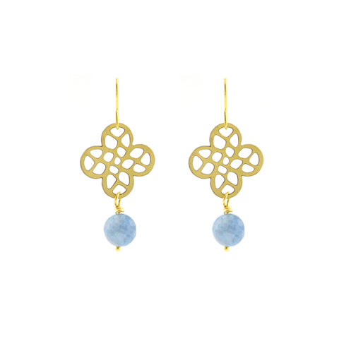 Vintage blue clover earrings