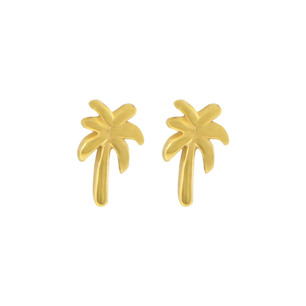 Golden palm tree studs
