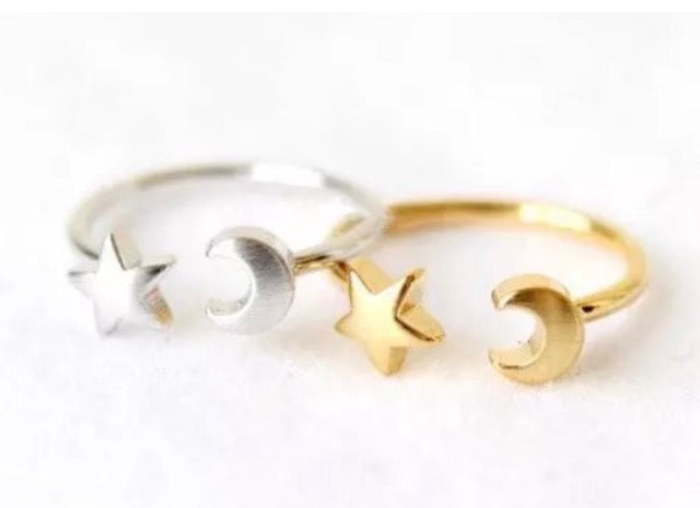 Moon and star star ring