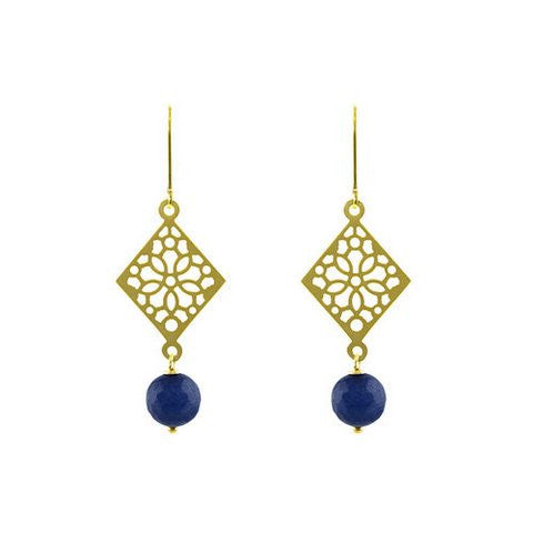 Diamond mosaic midnight earrings