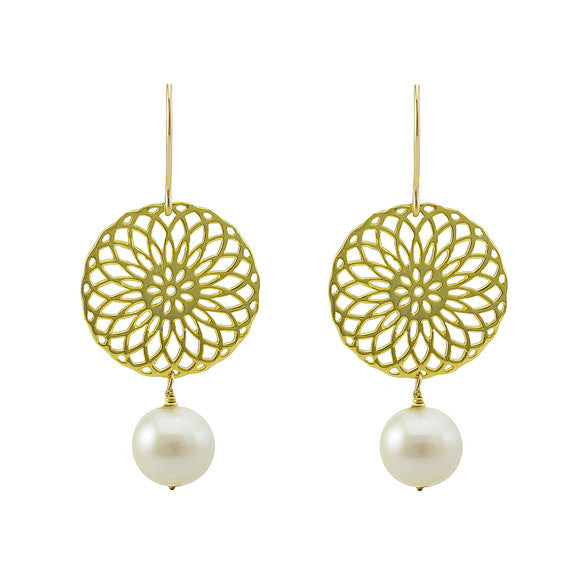 Pearl rosette earrings