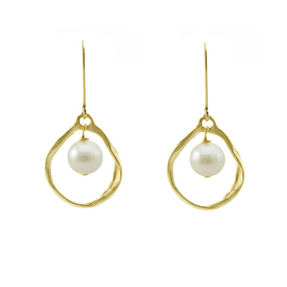 Organic gold pearl earrings