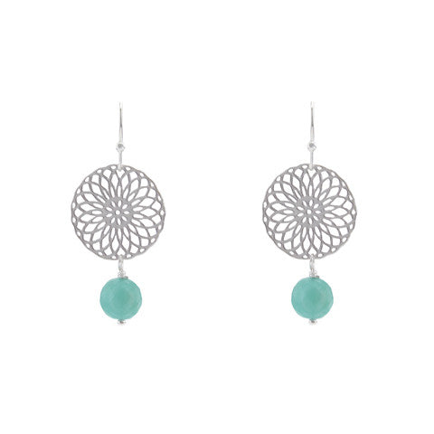 Aqua rosette earrings