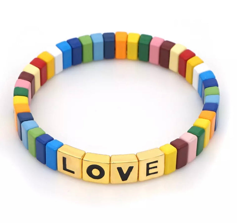 Rainbow golden love tile bracelet