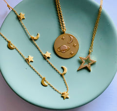 Petit Moon and Star gold-plated chain