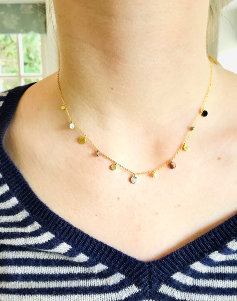 Gold and silver disk necklace