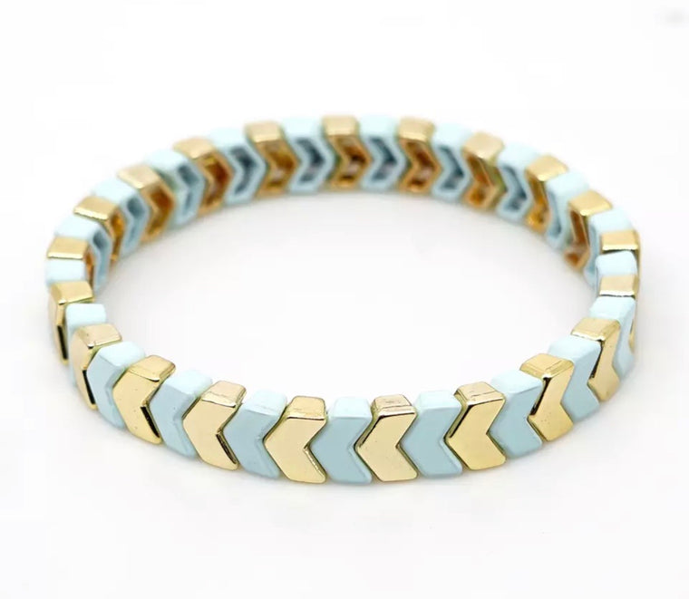 Gold and mint chevron tile bracelet