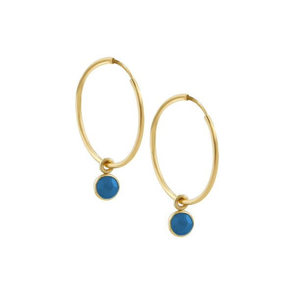 Gold lapis hoops