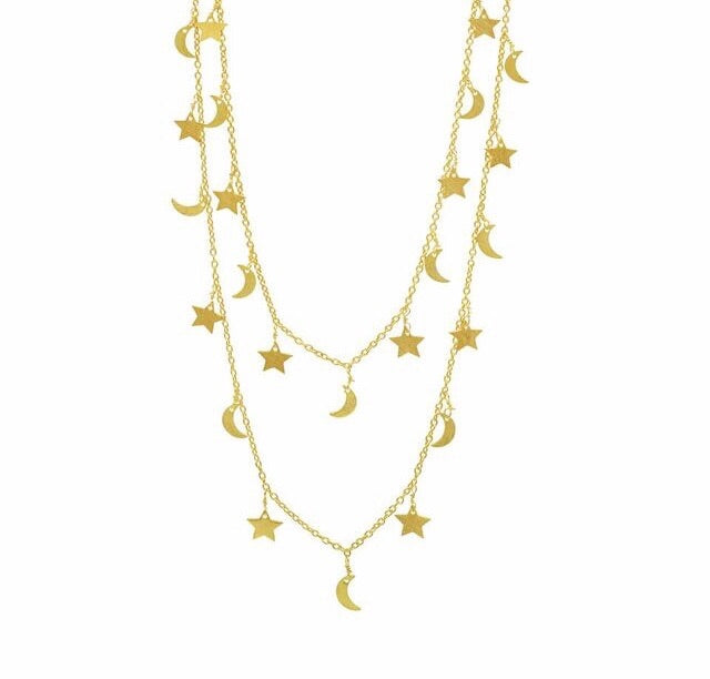 Gold plated moon and star long chain
