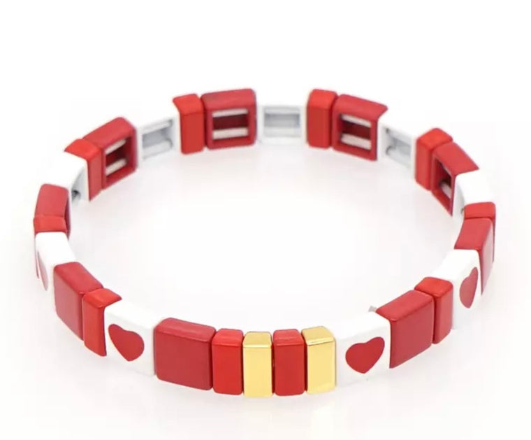 Love hearts tile bracelet
