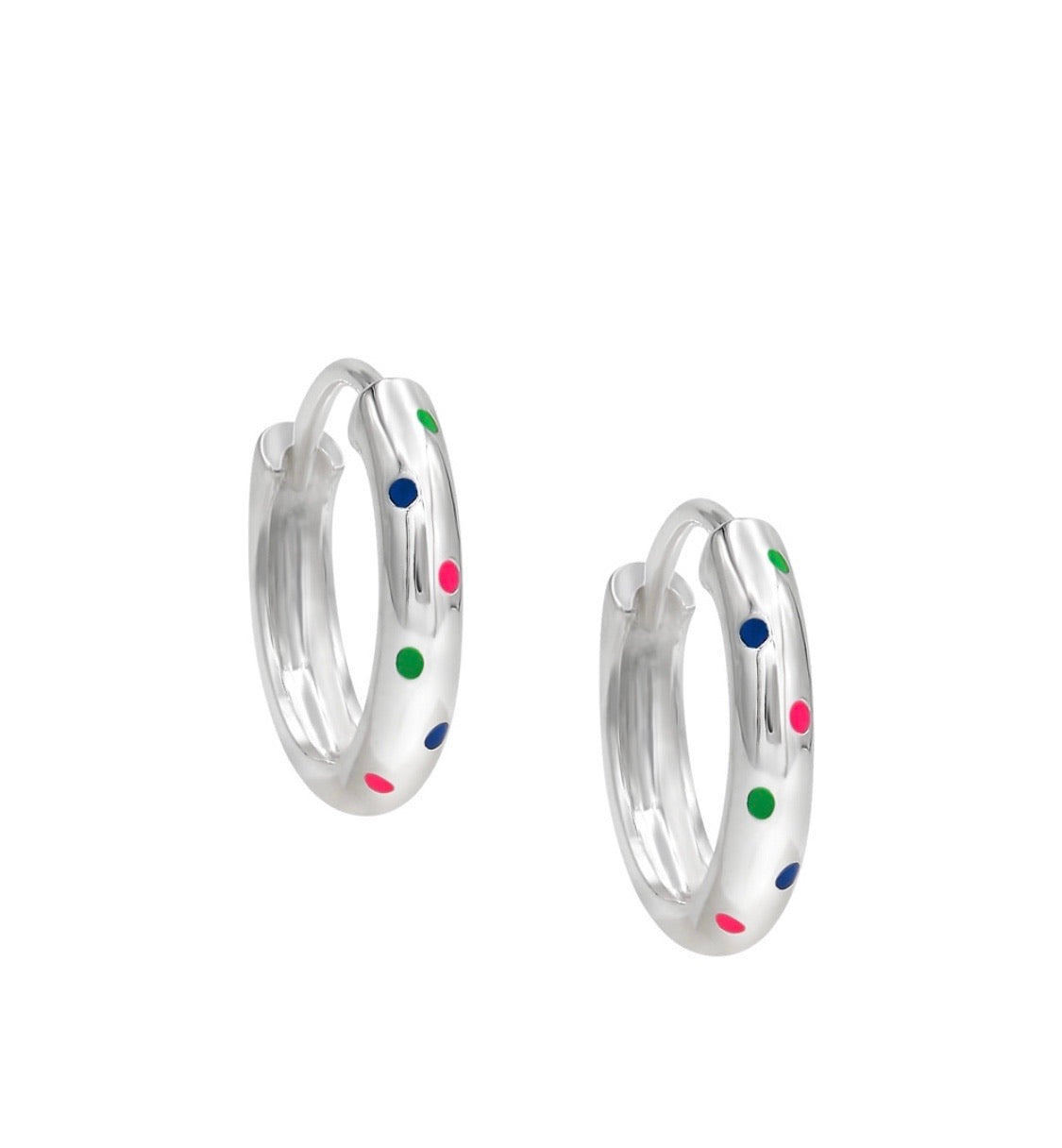 Rainbow polka dot hoops
