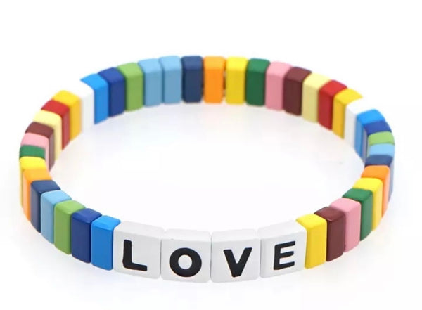Happy rainbow LOVE tile bracelet