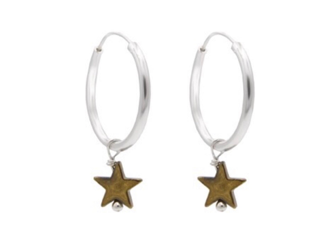Sterling star hoops