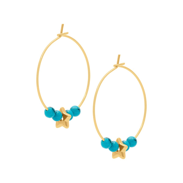 Turquoise starry hoops