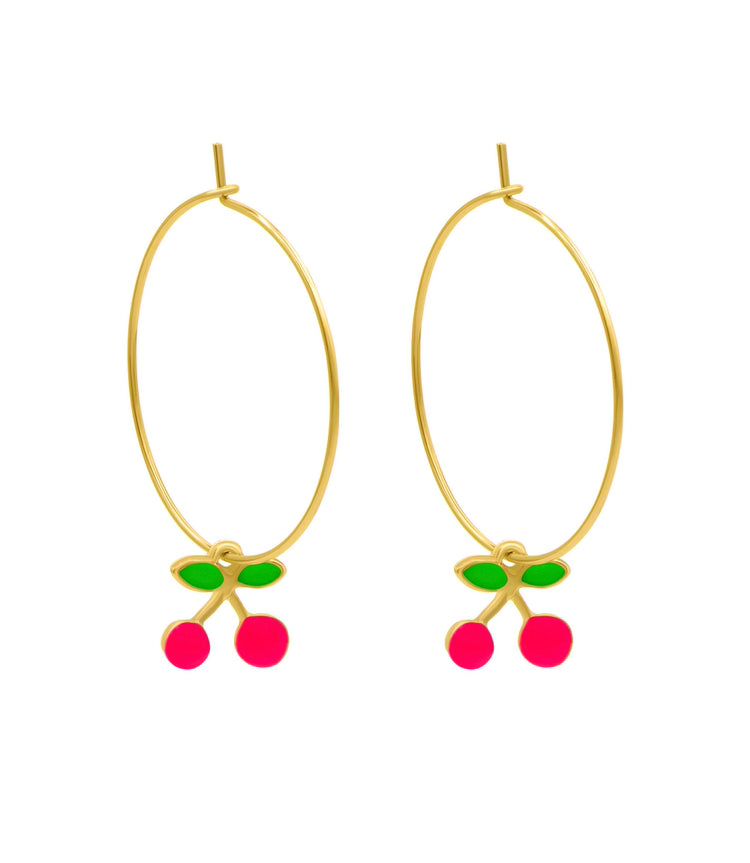 Hot pink Cherry gold hoops