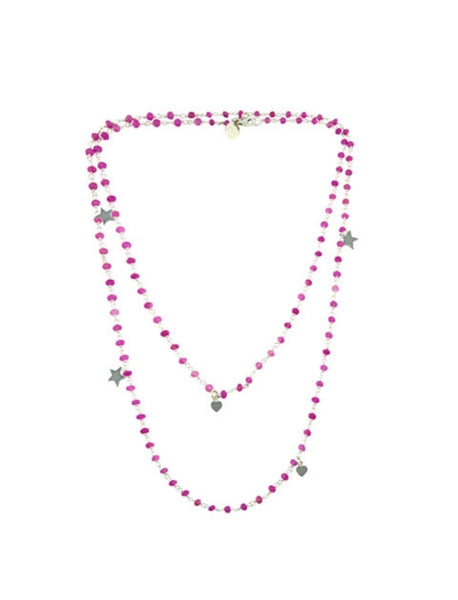 Pink peony rosary chain