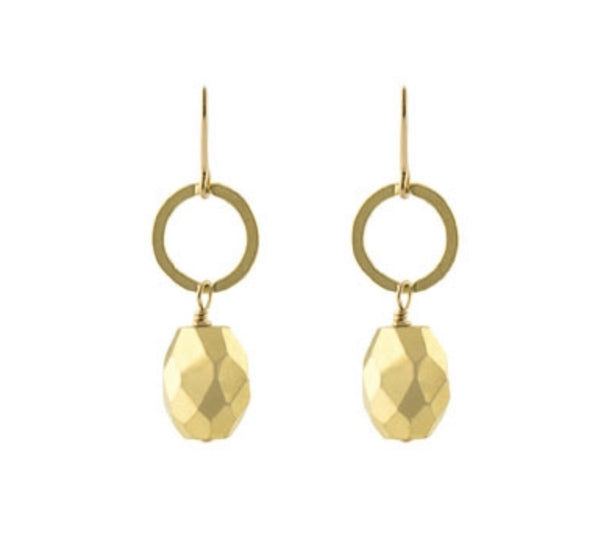 Gold pyrite earrings