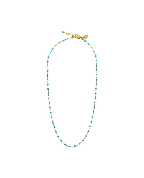 Turquoise dot enamel necklace