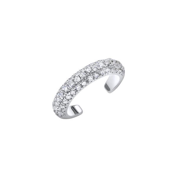 Diamond silver ear cuff