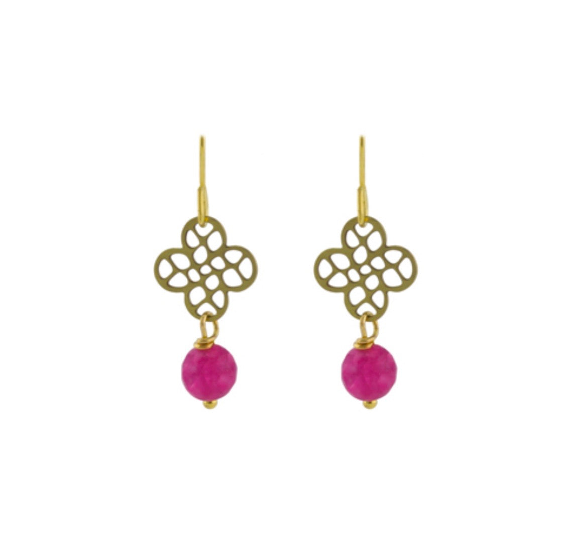 Pink mosaic clover earrings