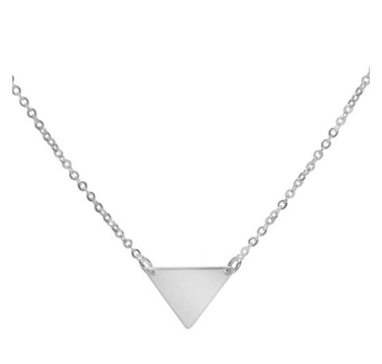 Tiny triangle silver necklace