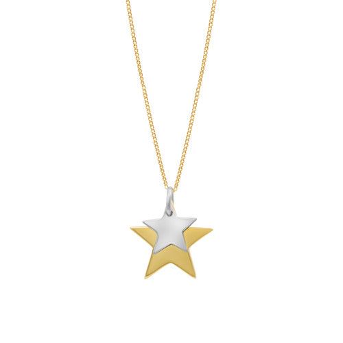 Sterling silver double star necklace