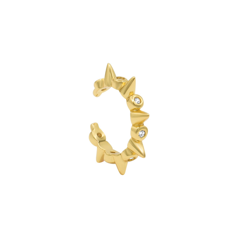 Spike gold plated ear cuff