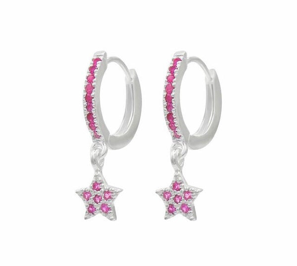 Sparkle star drop hoops