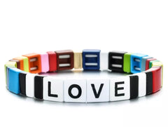 Rainbow love tile bracelet