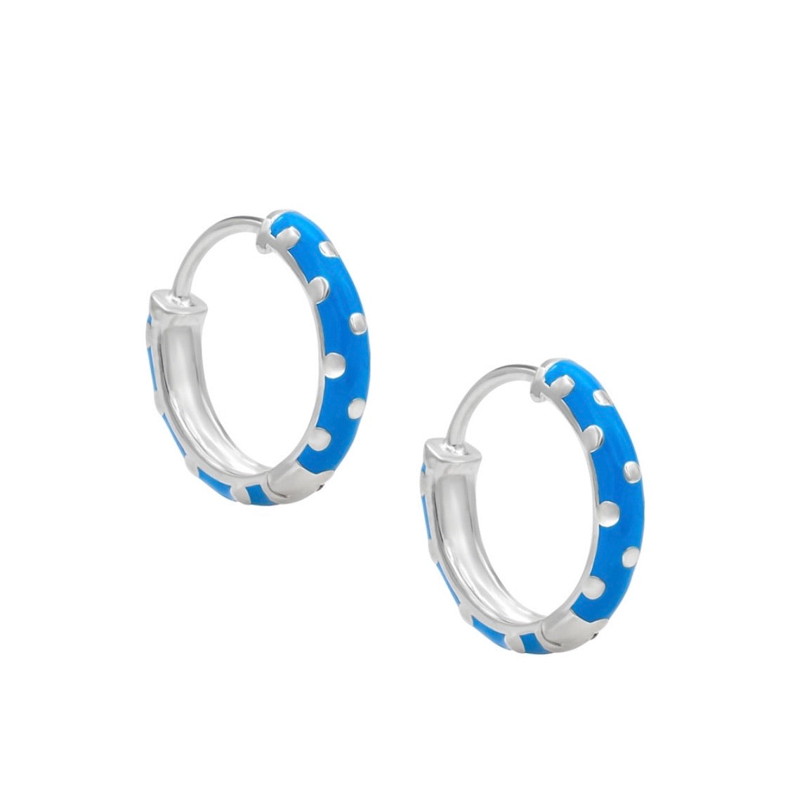 Blue polka dot hoops