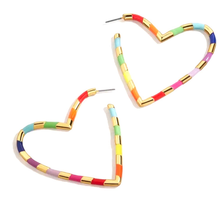 Enamel rainbow heart hoops
