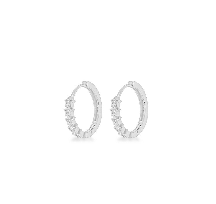 Sterling silver white cz star huggie hoops