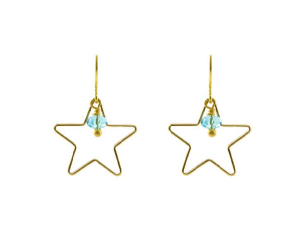 Blue line star earrings