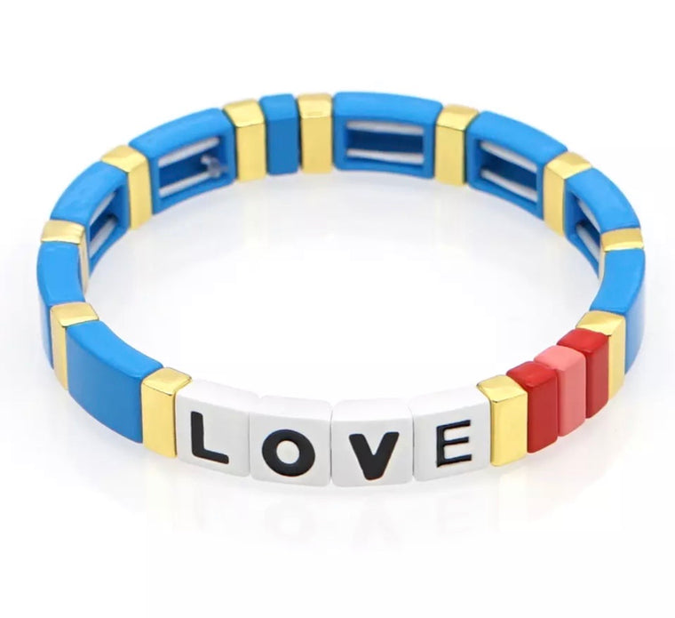LOVE blue tile bracelet