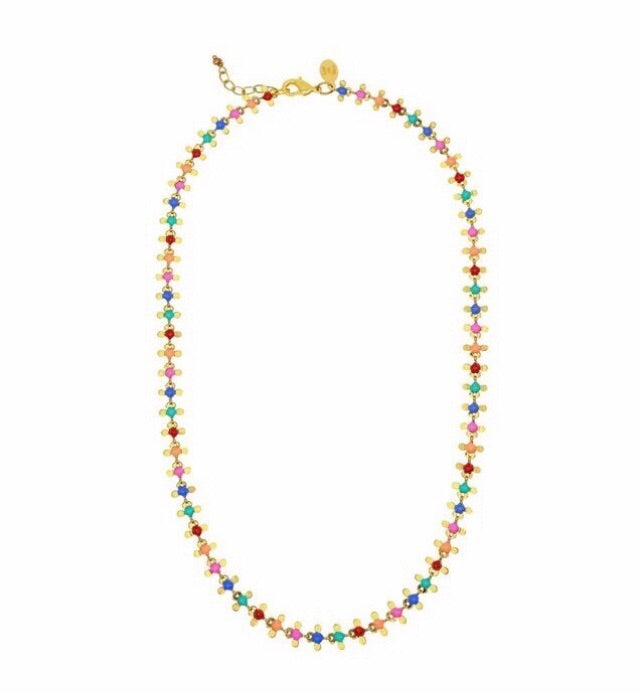 Flower rainbow dot necklace