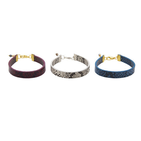 Leather python Love cuff bracelet
