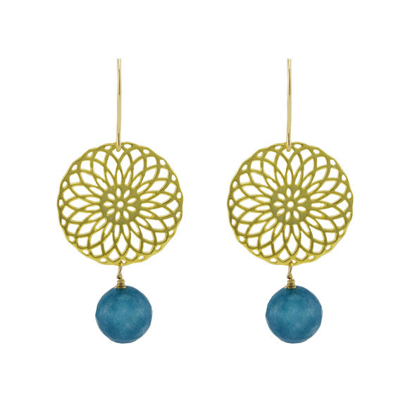 Blue rosette earrings