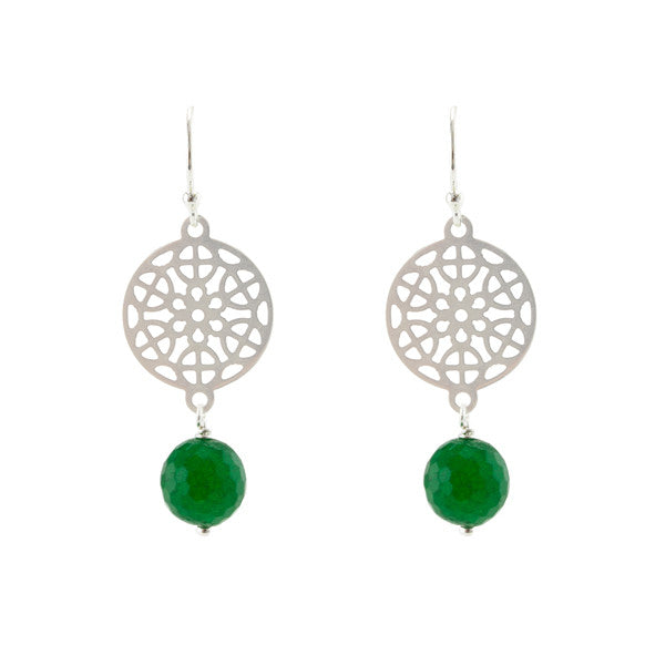 Green and silver forest earrings