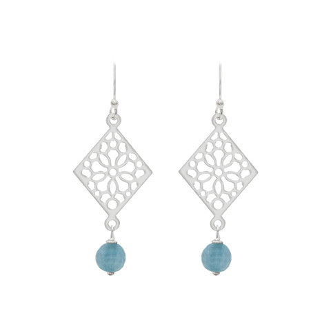 Blue diamond  mosaic earrings