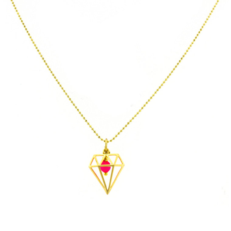Pink and Gold Diamond Necklace
