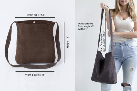 Leather Tote, Suede Leather Tote Shoulder Bag,  Leather Bag, Soft Leather,  Lightweight Crossbody Bag, Carry Bag