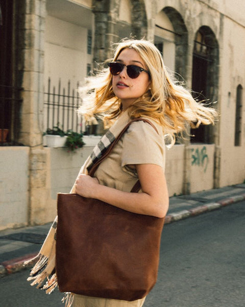 maykobags - brown leather tote bag - woan bag
