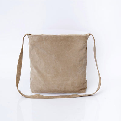 Crossbody Bag For Women, Suede Bag with Magnetic/Zipper Closer, Lightweight Leather Bag, Leather Gifts, gift for her, ||Beige||