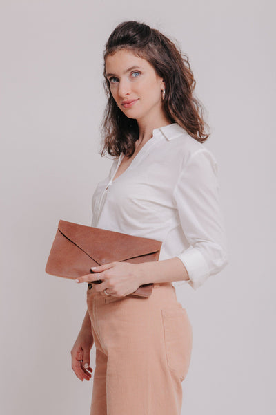 Envelope Documents Pouch Clutch Mayko Bags Cinnamon