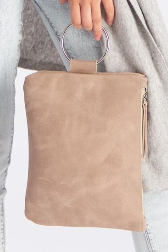 beige Leather Clutch, Leather Wristlet, Leather Clutch with Bracelet Handle, Soft Leather, Clutch Purse, Evening Bag, Wristlet Leather Bag ||Stone||