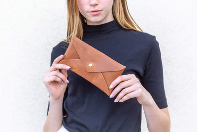 Leather Pouch, Small Purse Clutch Evening and Day Bag, Handmade Minimalis Leather Gift for Women and Men, Cell Phone Bag , personalized leather gift, leather envelope pouch, women leather pouch, small gift, gift under $50, leather clutch, gift for her, leather pouch, small case, phone pouch, envelope purse, mayko bags, ||Brown||