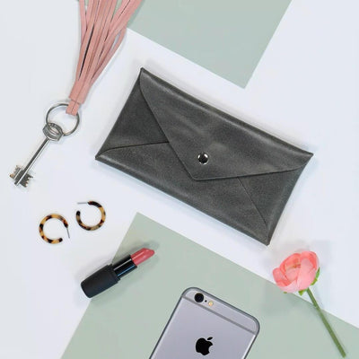 Leather Pouch, Small Purse Clutch Evening and Day Bag, Handmade Minimalis Leather Gift for Women and Men, Cell Phone Bag , personalized leather gift, leather envelope pouch, women leather pouch, small gift, gift under $50, leather clutch, gift for her, leather pouch, small case, phone pouch, envelope purse, mayko bags, ||Gray||