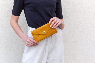 Leather Pouch, Small Purse Clutch Evening and Day Bag, Handmade Minimalis Leather Gift for Women and Men, Cell Phone Bag , personalized leather gift, leather envelope pouch, women leather pouch, small gift, gift under $50, leather clutch, gift for her, leather pouch, small case, phone pouch, envelope purse, mayko bags, ||Mustard||